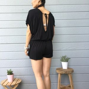Black open back romper